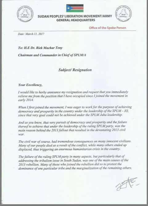 Crisis within the SPLM-IO1