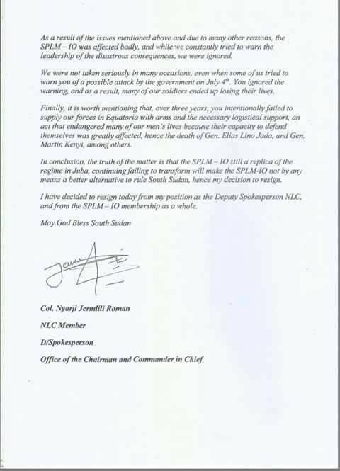 Crisis within the SPLM-IO2