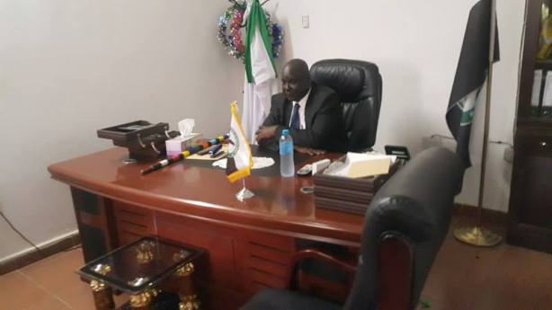 Akobo State Governor, Lt Gen Johnson Gony Biliew in his Office
