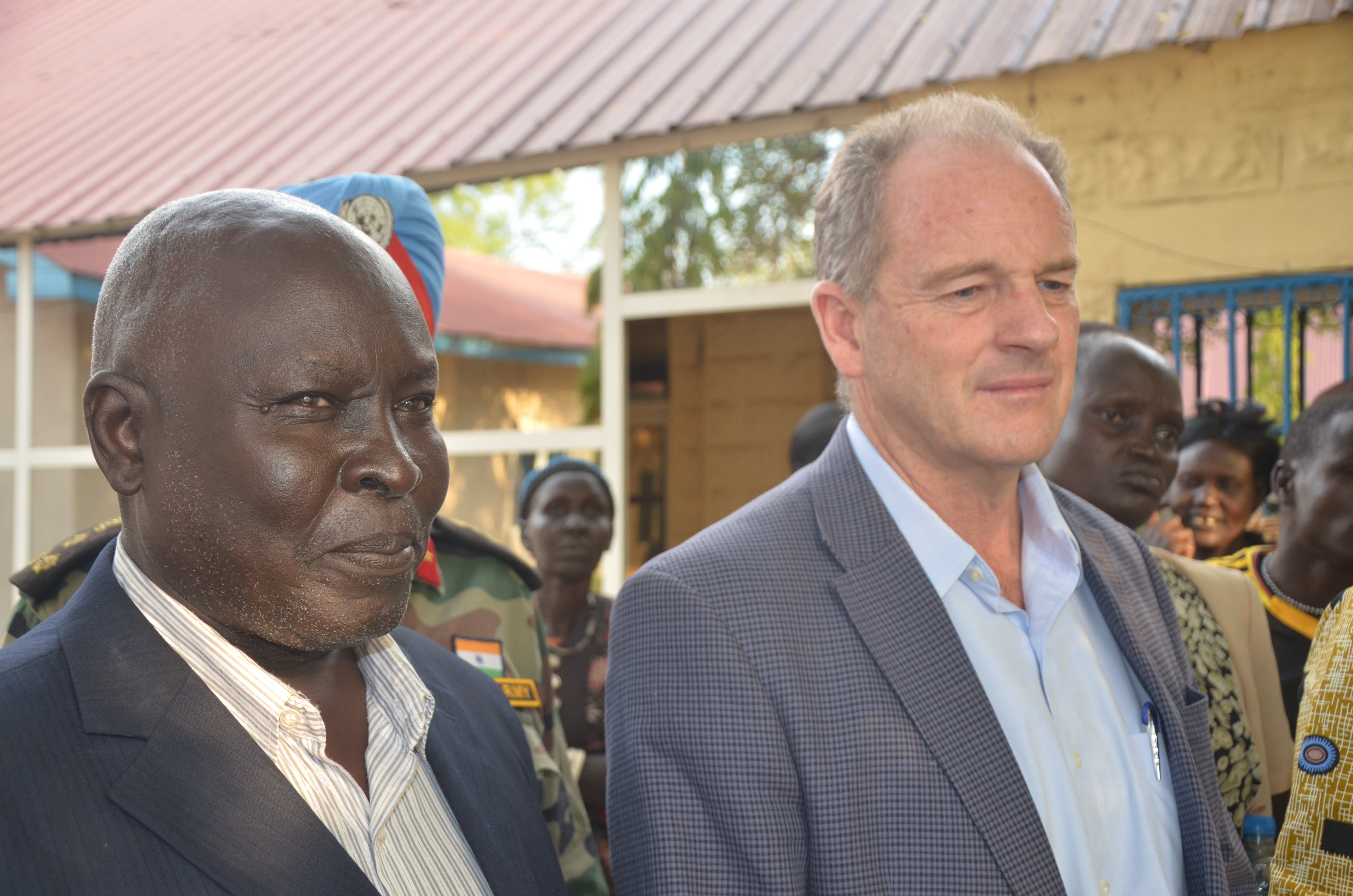 Prof Majok Kelei stands next to UNMISS chief at Council of ministers in Bor picture by Mach Samuel