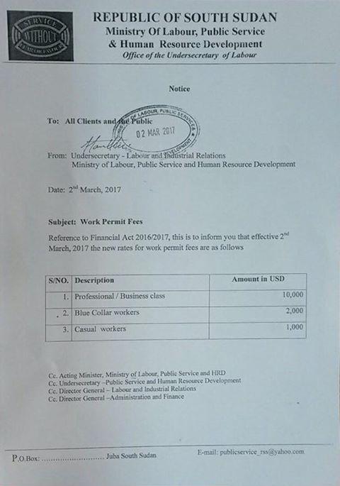 Résultats de recherche d'images pour «work permit fees south sudan»