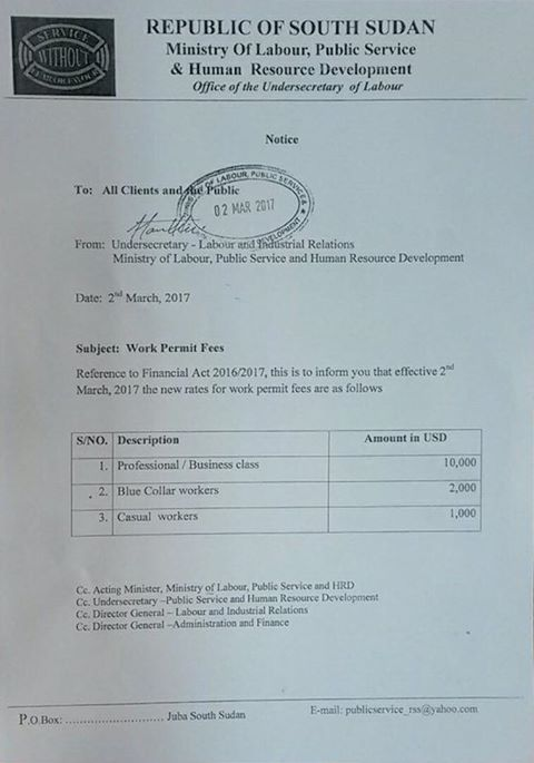 south-sudan-to-raise-fees-for-work-permits