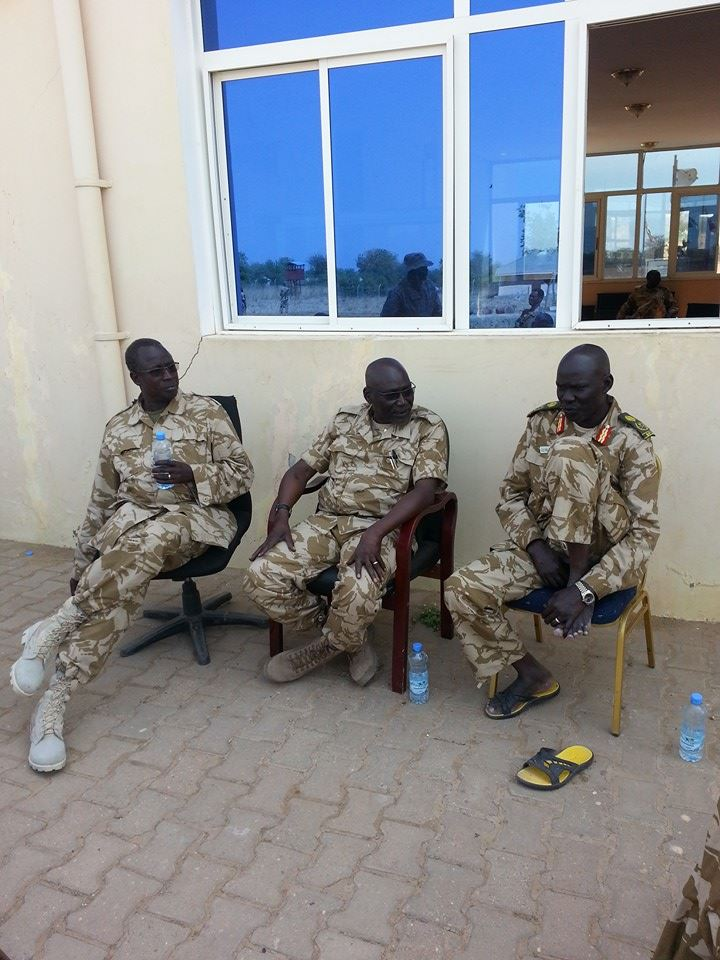 Generals Pieng Deng Majok, Paul Malong Awan and Malual Ayom Dor at the Bor Airport during the second liberation of Bor, 2014