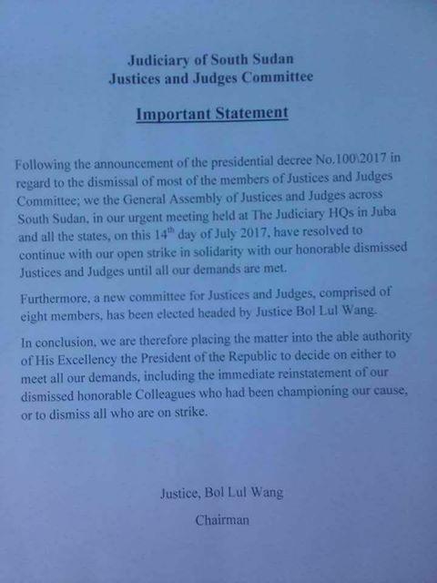 Press Statement from judges