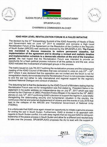 Riek Machar denounces IGAD's revitalization forum1