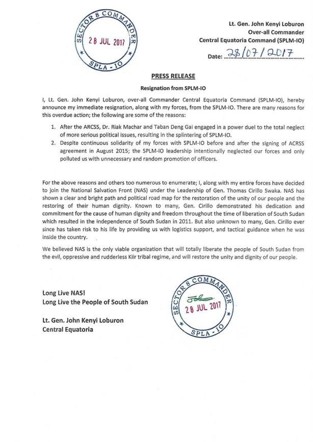 Was Thomas Cirilo an IO mole within the SPLA in Juba