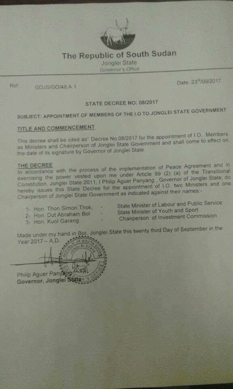 Governor Philip Aguer Appoints IO ministers in Jonglei state