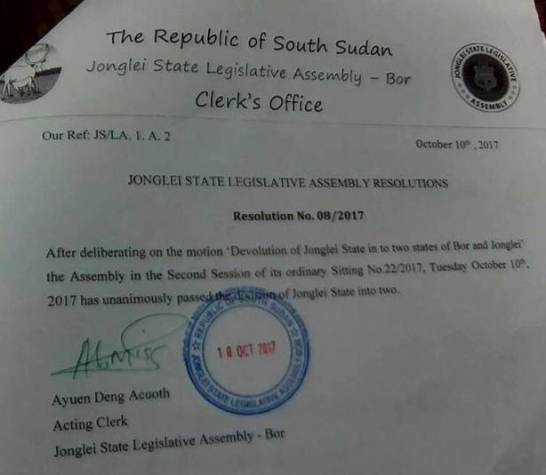 Jonglei partitions into two states