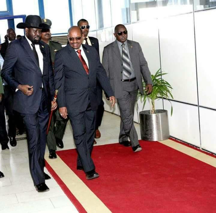 red carpet, Bashir and kiir in khartoum1