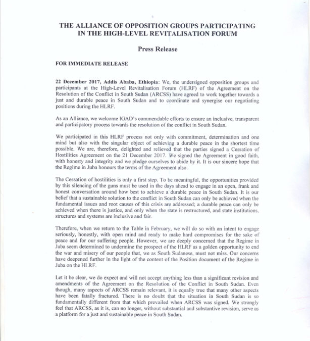 Alliance of South Sudanese opposition parties1