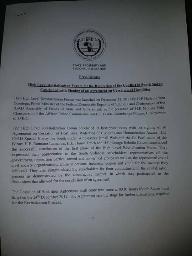 IGAD press release on the HLRF1