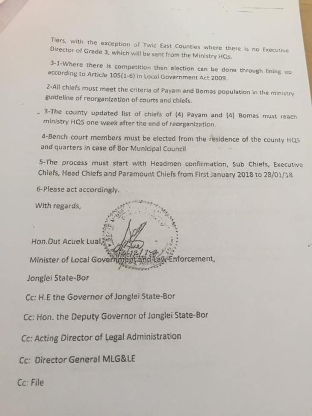 Circular for the Re-organization of Traditional Authority in Jonglei State: The Selection, Re-election and Confirmation of Traditional Chiefs in Greater Bor, Greater Twic East and Greater Duk areas.