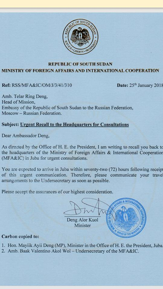 Recall of Ambassador Telar Deng