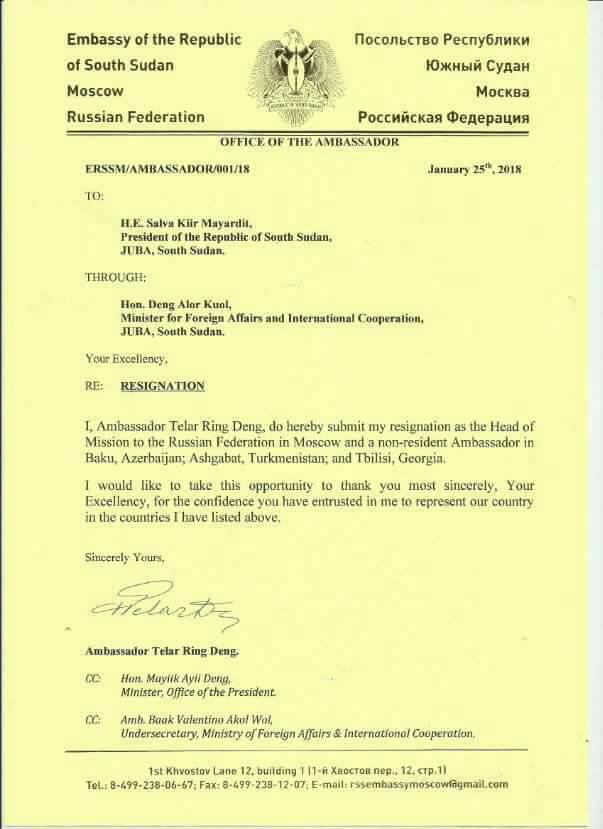 Resignation letter of Telar Deng