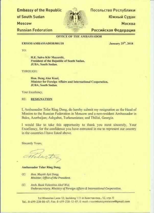 Resignation letter of Telar Deng