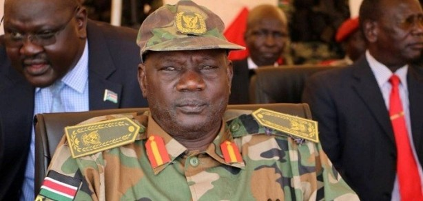 Information Minister Michael Makwei Lueth in full old SPLM/A military uniform