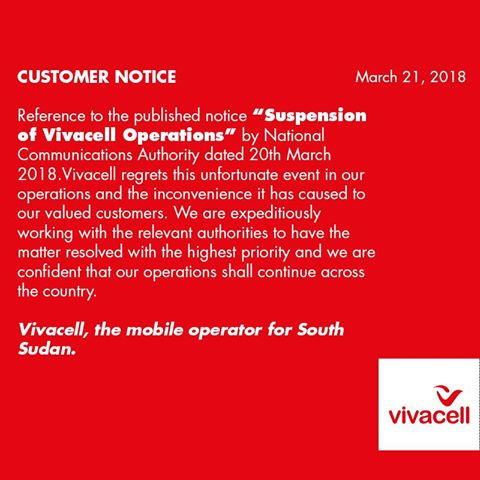Message from Vivacell Mobile Operator