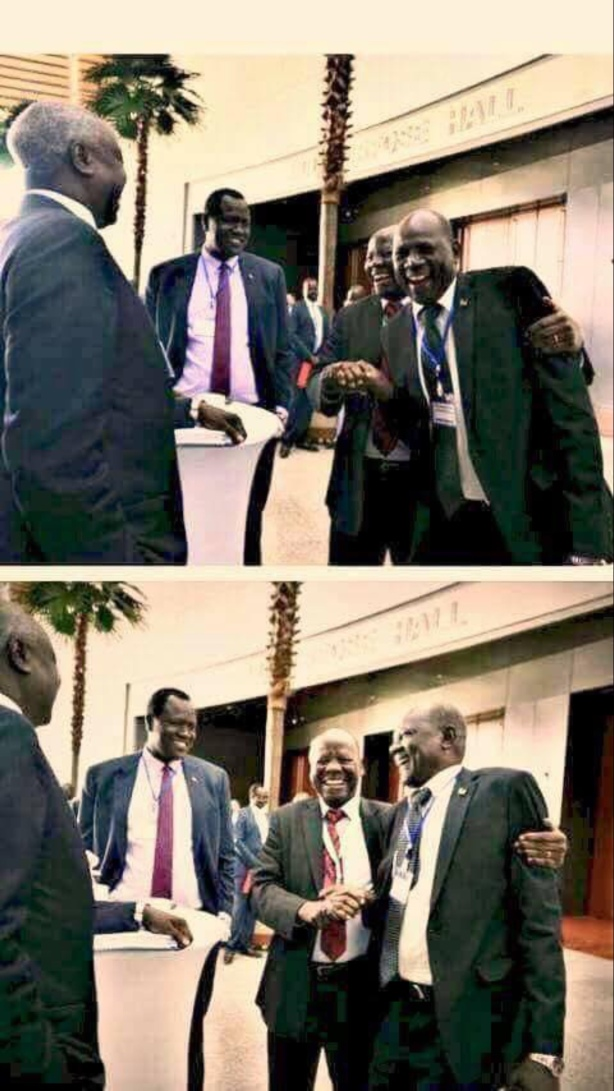 Hon. Michael Makwei Lueth, Dr. Lam Akol Ajawin, Hon. Nhial Deng Nhial, and Hon. Ezekiel Lol Gatkuoth at the second round, phase II, of the IGAD-led High Level Revitalization Forum (HLRF) of the 2015 ARCSS, in Addis Ababa, Ethiopia, May 17-25, 2018