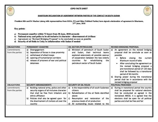 CEPO Fact Sheet on Khartoum Declaration between President Kiir and Dr Riek Machar - Part 2