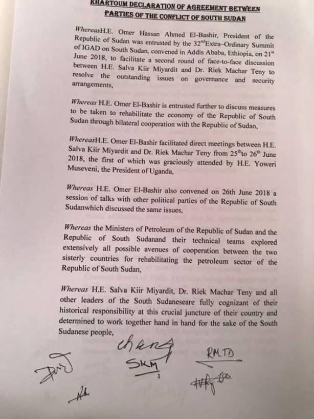 Khartoum Declaration - Khartoum to assume control of South Sudan's oilfields1