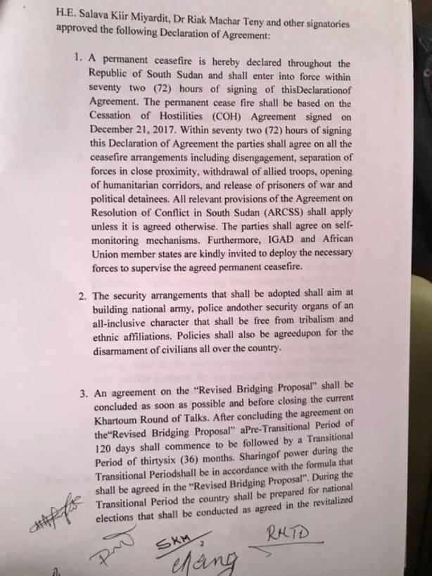 Khartoum Declaration - Khartoum to assume control of South Sudan's oilfields2