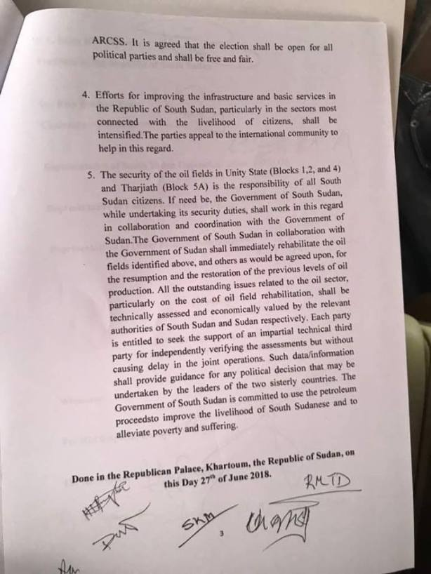 Khartoum Declaration - Khartoum to assume control of South Sudan's oilfields3