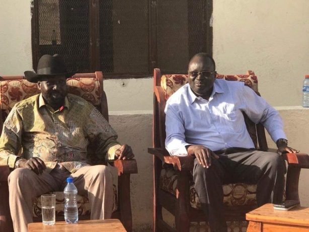 President Kiir and Dr. Majak during the presidential tour of Bahr el Ghazal region, March 2019
