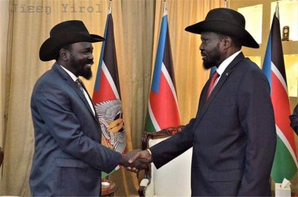 President Kiir with his look-alike, Hon Mayen Wol