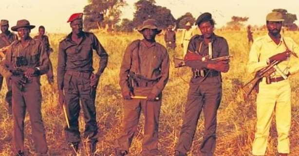 Comrade Chagai Atem, Comrade William Nyuon, Comrade John Garang, Comrade Kerubino Kuanyin and Comrade Salva Kiir, respectively, at the founding of the SPLM/SPLA in 1983 - photo by Comrade Atem Yaak Atem