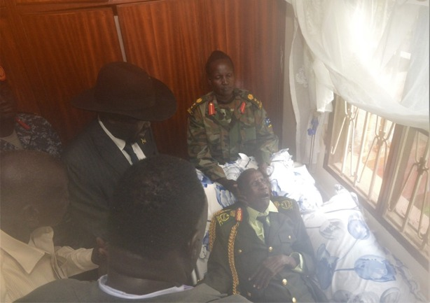 President Kiir visiting his friend, Comrade Chagai Atem, at his home in Juba on 13 June 2019, after Chagai-dit was brought back from Kenya, following a lengthy treatment period, since he fell ill on the eve of South Sudan's independence in 2011