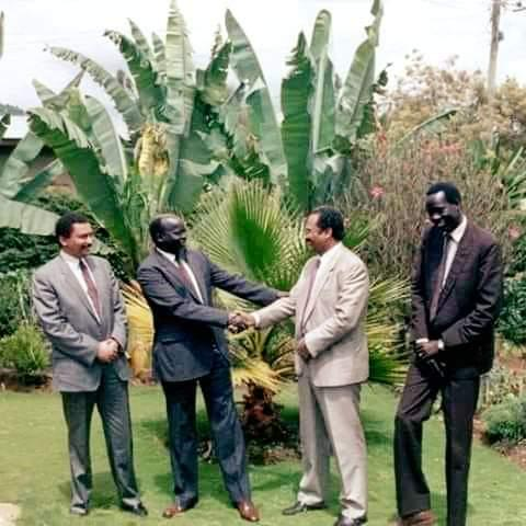 John Garang, Deng Alor and PM Hamdok of the Sudan during the war of liberation