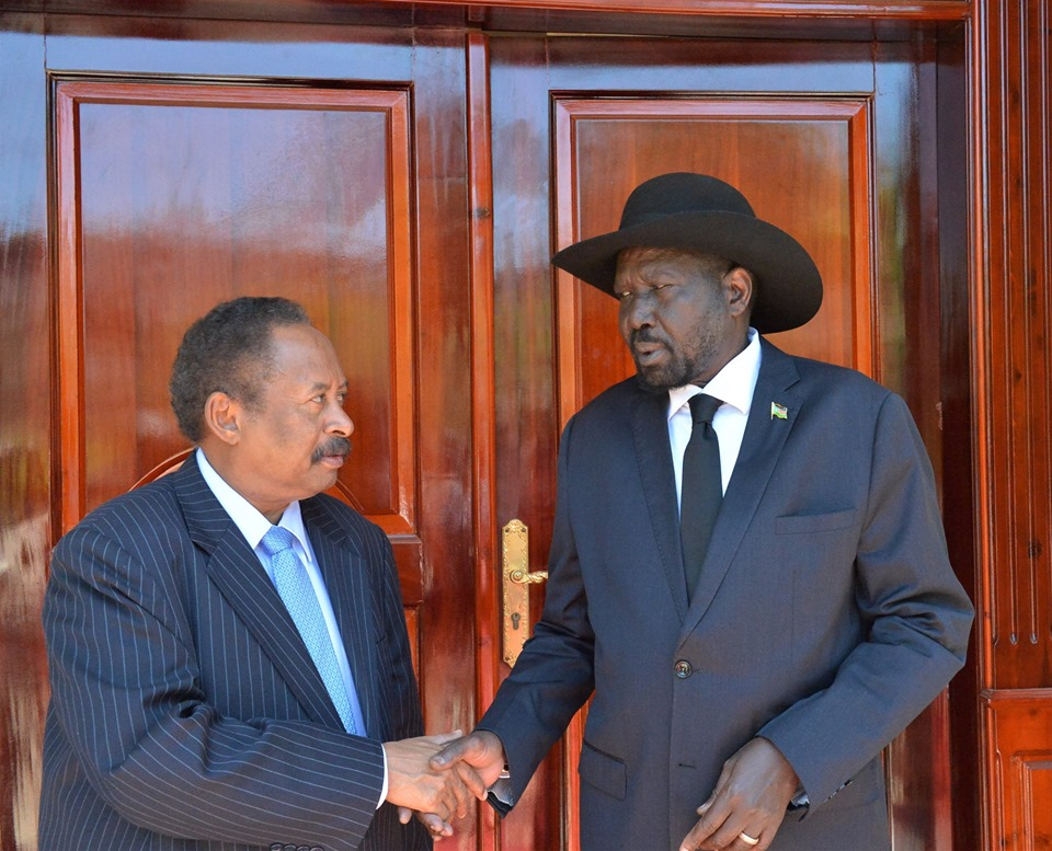 Sudanese PM Abdalla Hamdok and President Kiir, 13 September JUBA